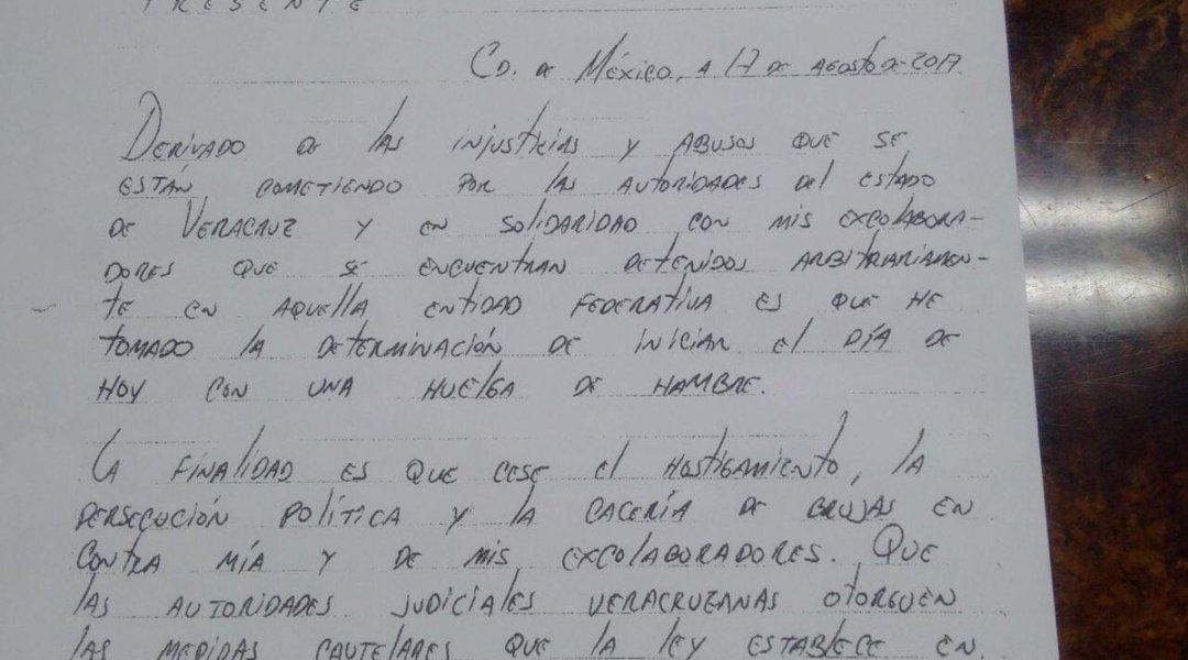 Duarte avisa de huelga de hambre por carta