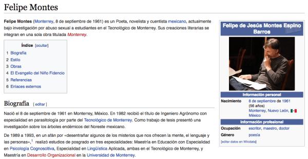 Entrada de Wikipedia de Felipe Montes