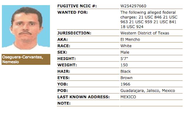"""Ficha de """"El Mencho"""" en el sitio de la DEA"""