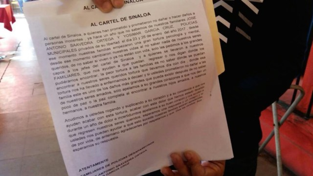 Carta de familiares de policías desaparecidos al Cartel de Sinaloa
