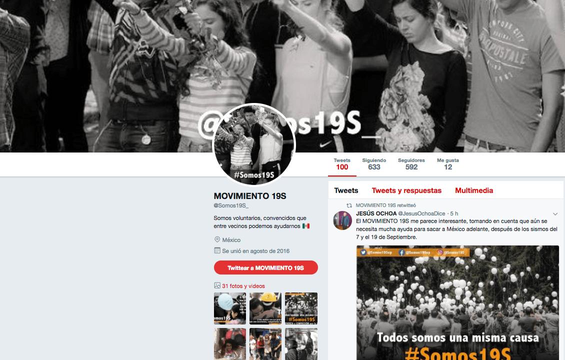 Movimiento 19 S Twitter guerra sucia contra Sheinbaum