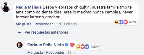 EPN respondió con corazoncitos en Facebook
