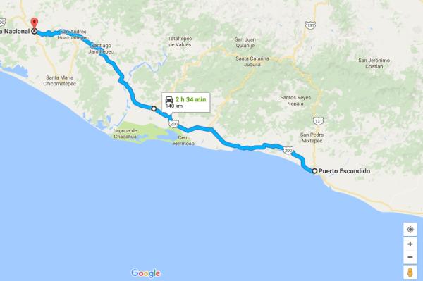 Mapa de carretera federal Puerto Escondido - Pinotepa Nacional