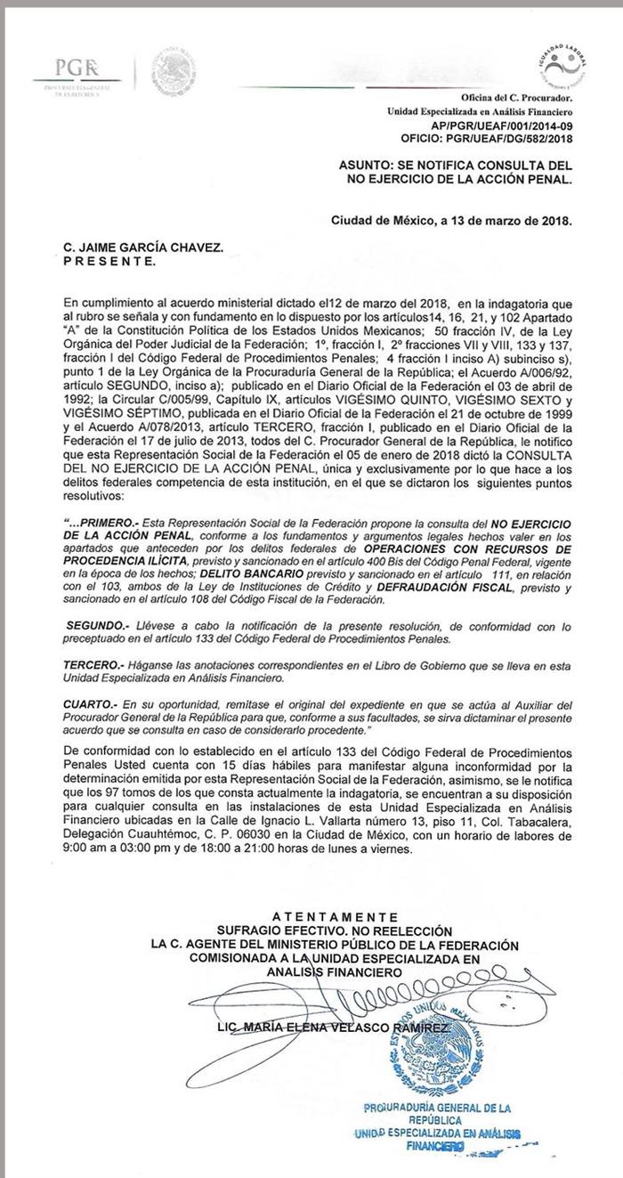 PGR no ejercerá acción penal en contra de César Duarte