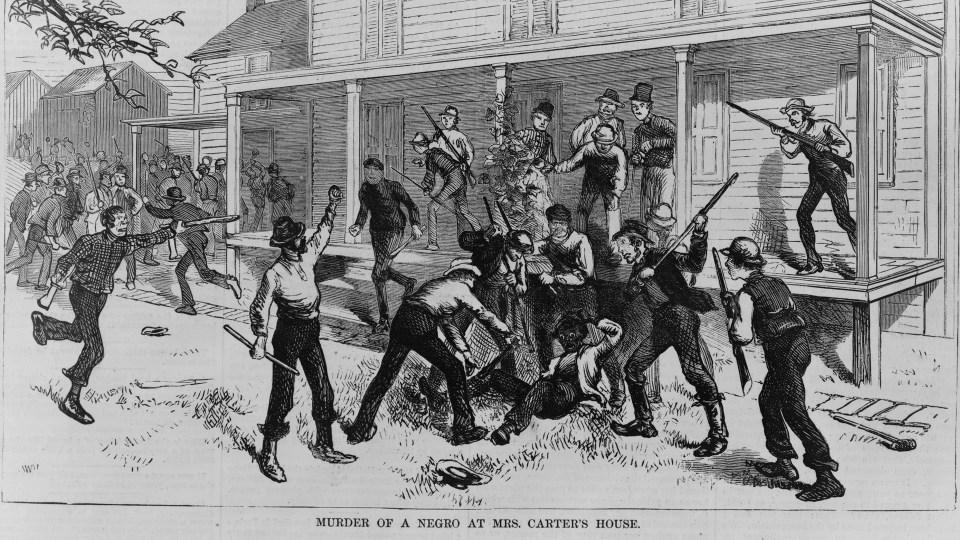 Grabado de un linchamiento en el siglo XIX