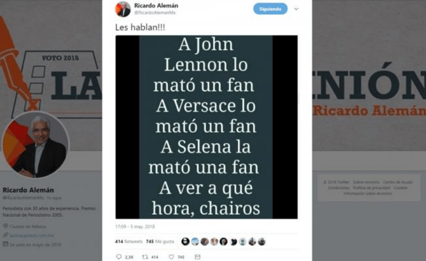 Ricardo Alemán AMLO López Obrador tuit asesinar