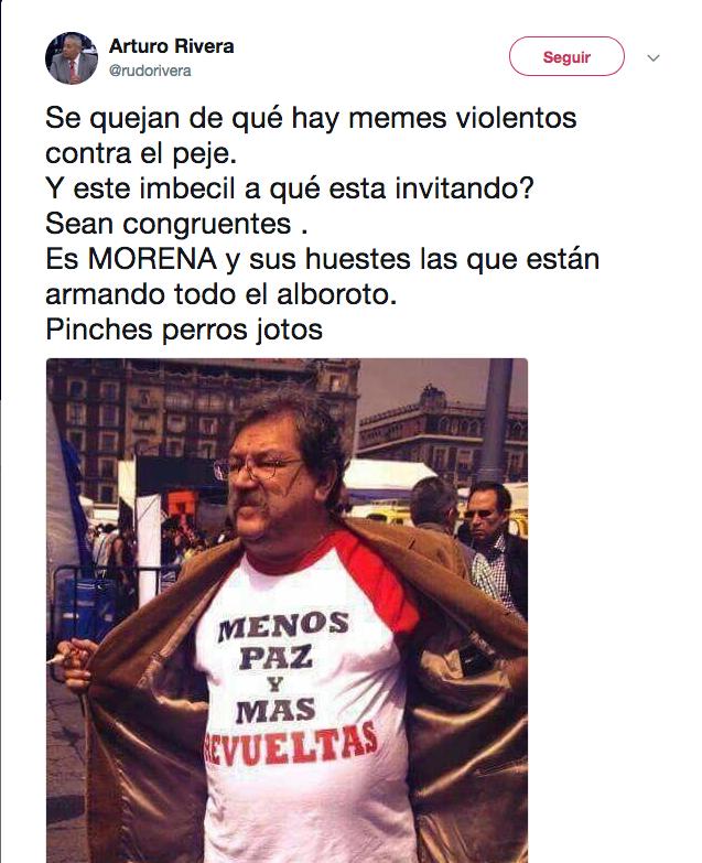 Arturo Rivera tuit Taibo Paz Revueltas