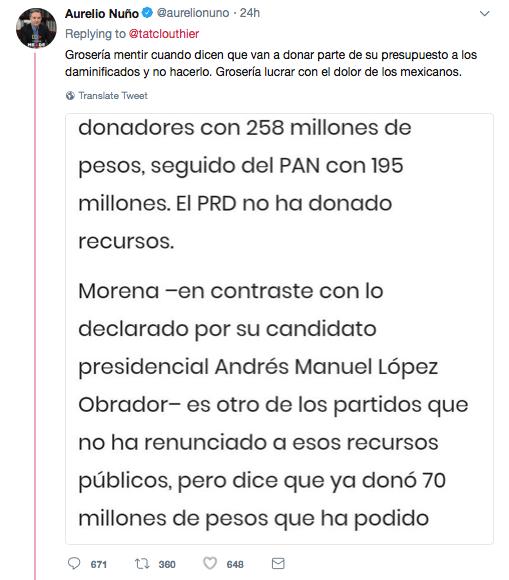 Respuesta de Nuño a Clouthier por reportaje de Reforma