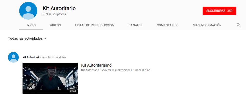 Perfil de Youtube del Kit del Autoritarismo