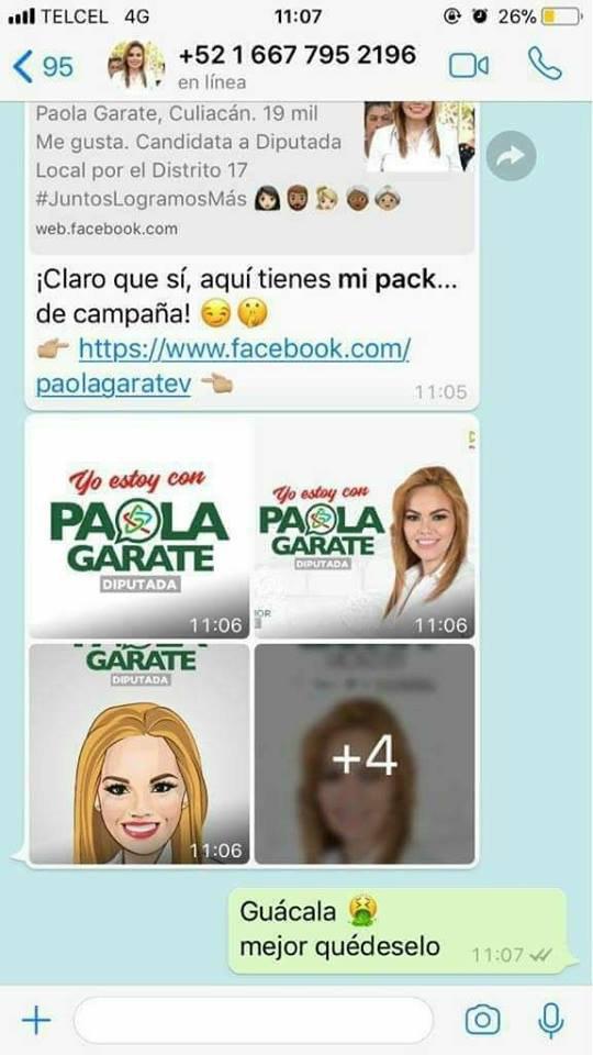 Paola Garate Candidata Sinaloa Pack WhatsApp