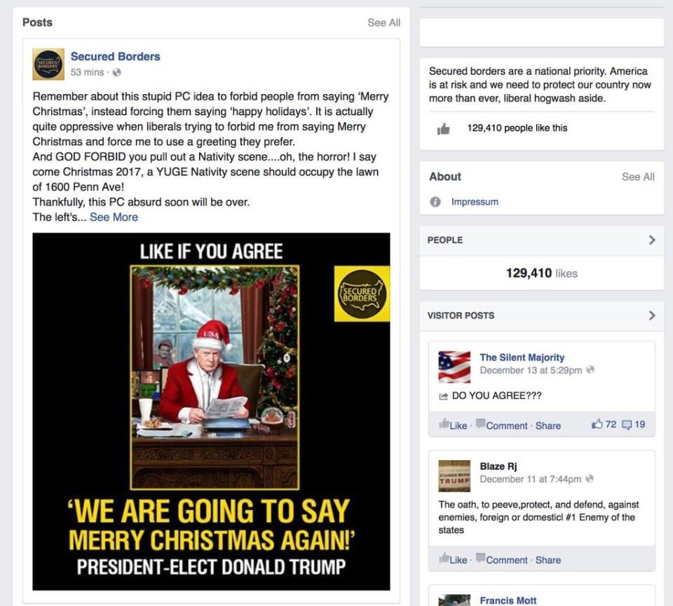 Página falsa creada por bots rusos en Facebook