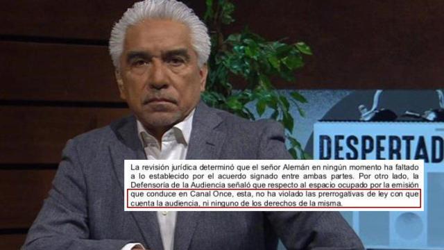 Ricardo Alemán regresa a Canal Once: que no violó contrato