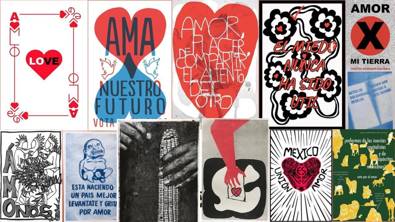 Vota x el amor: ilustradores recuperan historia del cartel político mexicano