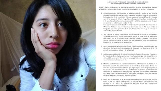 Réplica de la FFyl a desaparición de Vanessa Díaz