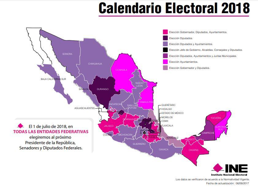 Calendario INE, Elecciones 2018, 1 de julio