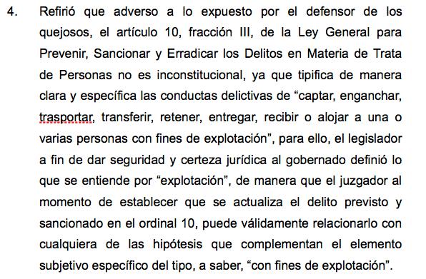 Artículo 4 del amparo ante SCJN por caso de explotación y trata