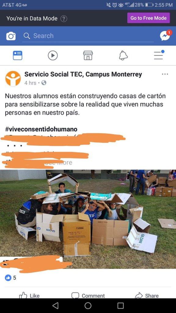 Tec de Monterrey Casas de Cartón Alumnos Sensibilidad Poobreza Hitec