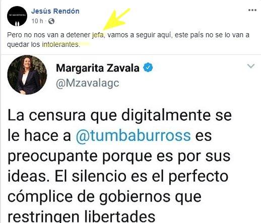 Zavala condena 'censura' a Tumbaburros