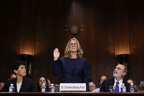 Christine Blasey Ford en comparecencia en el Senado