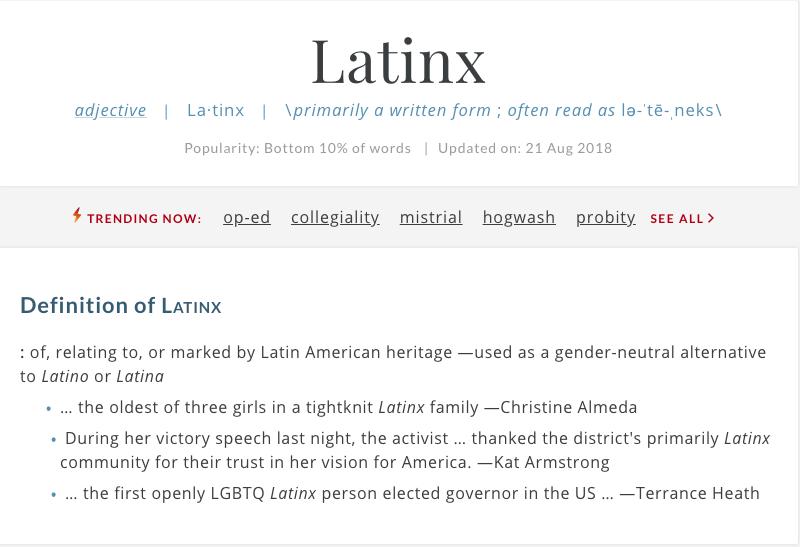 Entrada de latinx en el diccionario Webster