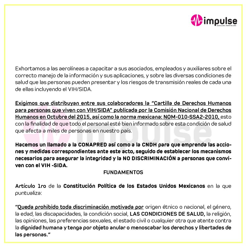Impulse, Discriminación, Aerolínea, VIH