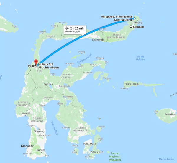 Distancia entre epicentro del sismo y el volcán