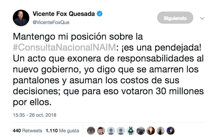 Consulta es una pendejada: Fox a AMLO