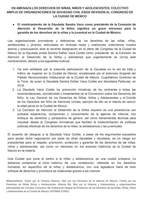 Sandra Vaca, Derechos de la Niñez, Ciudad de México