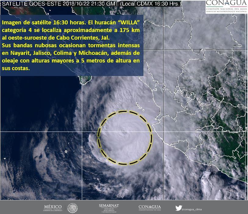 Imagen satelital de huracán Willa