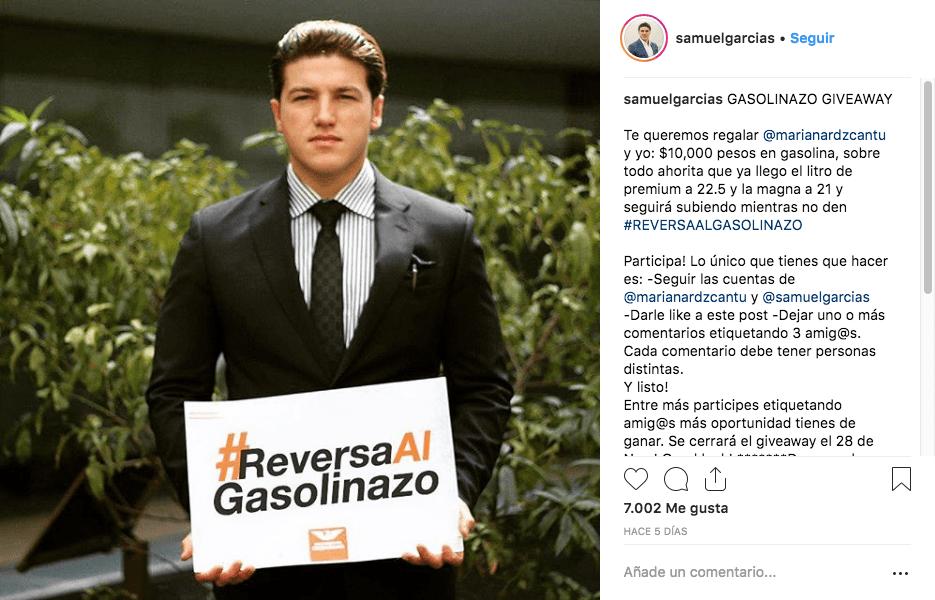 Como influencer, Samuel García regala gasolina en Instagram