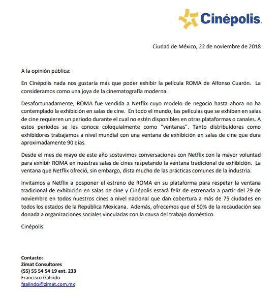 Comunicado oficial de Cinépolis sobre Roma, de Cuarón