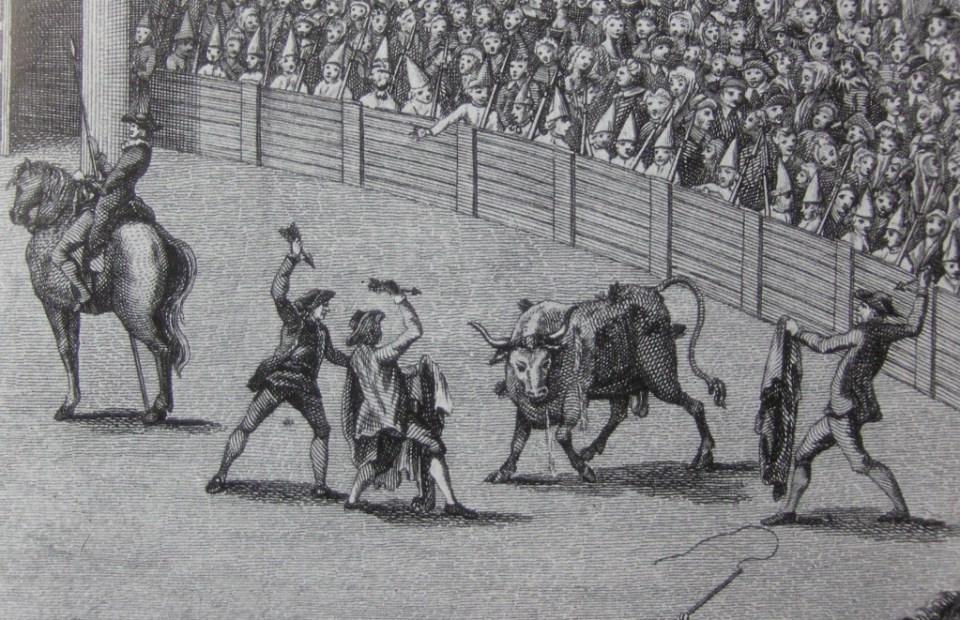 Grabado de corridas de toros en la Nueva España en el siglo XVIII