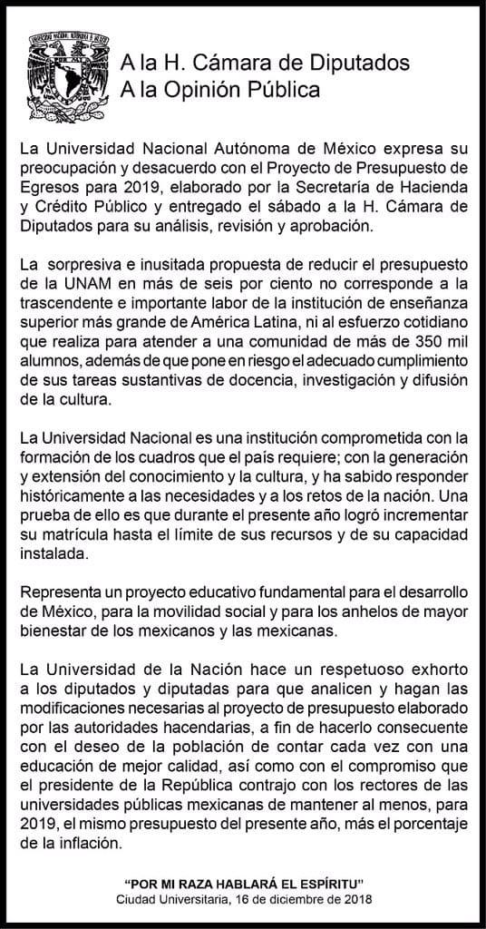 Comunicado de la UNAM respecto a recorte presupuestal