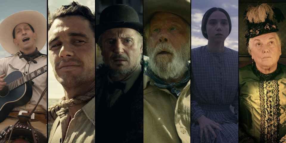 Los rostros de las seis historias de The Ballad of Buster Scruggs.