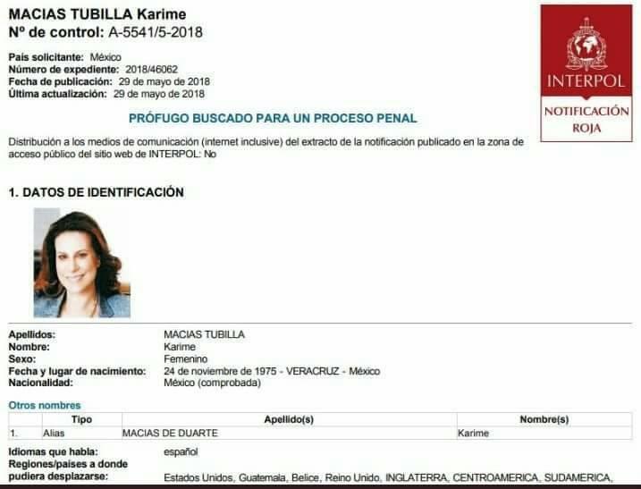 Ficha roja de Interpol contra Karime Macías