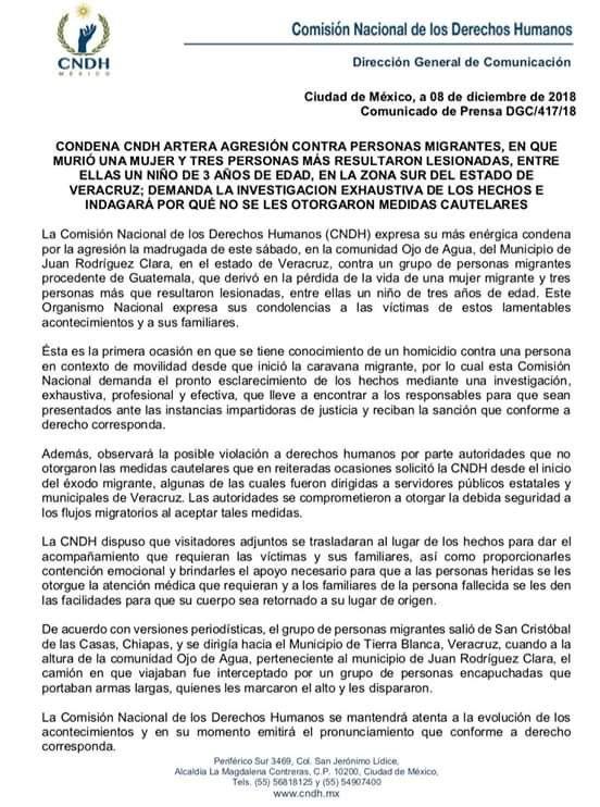 Comunicado de la CNDH condenando ataque y exigiendo respuesta de autoridades