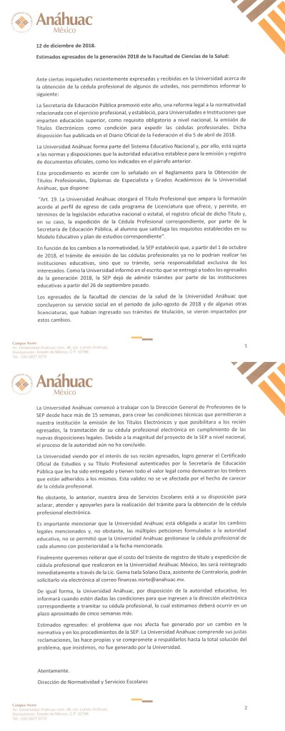 Segunda carta de Anáhuac explicando caso