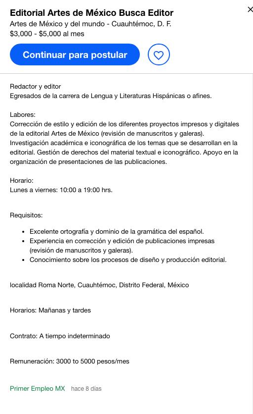 Oferta de empleo: 8 habilidades por un octavo de un sueldo decente