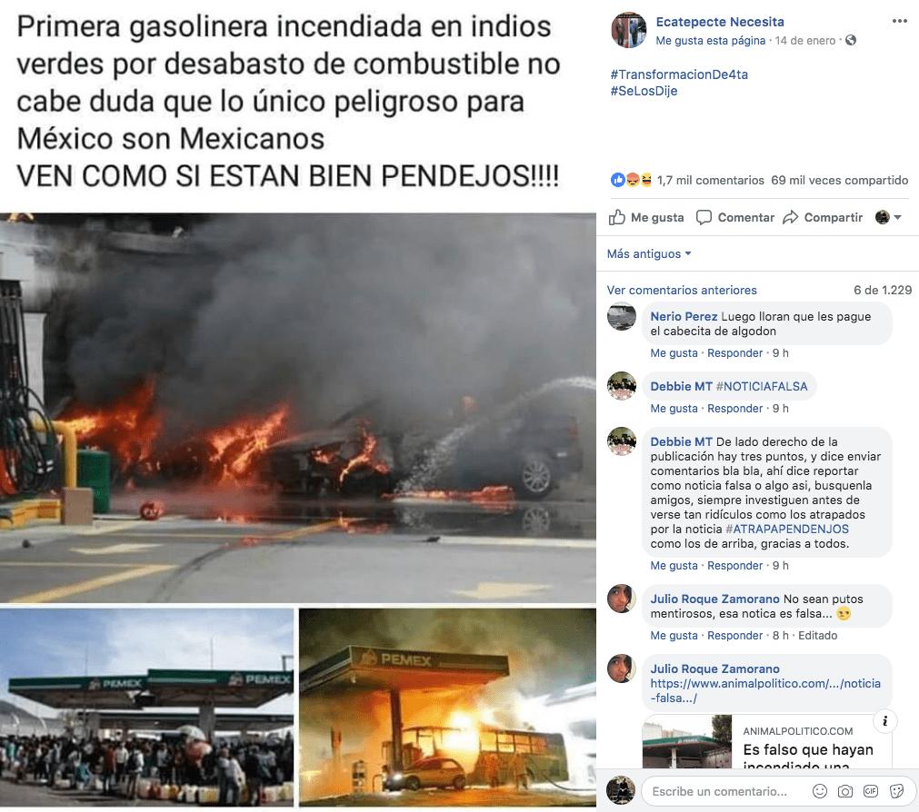 Publicación con información falsa que difundió un 'incendio' en Indios Verdes