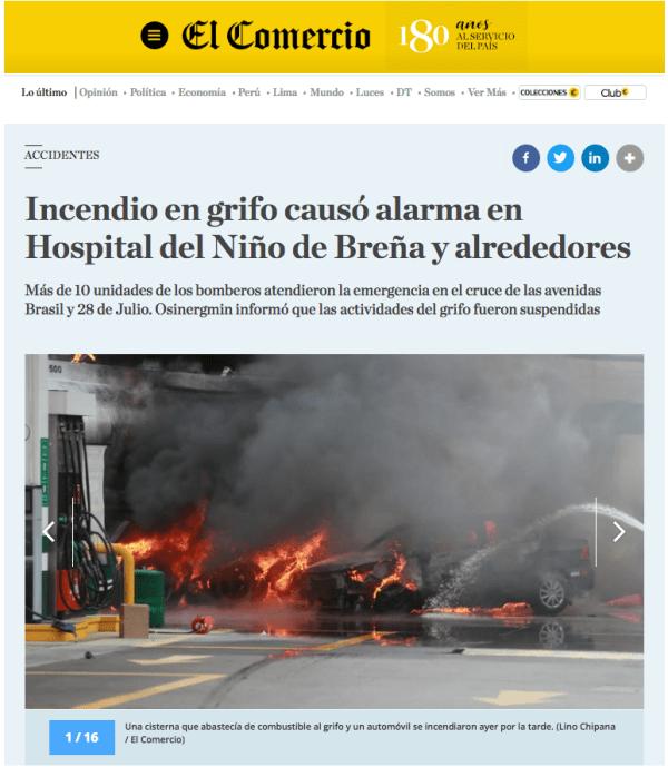 Publicación original de una de las fotografías: un periódico peruano