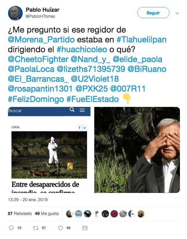 Posible primera publicación de la noticia alterada de Tlahuelilpan