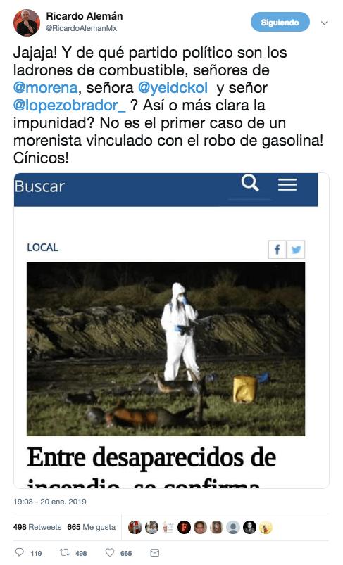 Tuit de Ricardo Alemán publicando una fake news