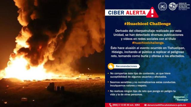 Fiscalía de Tabasco alerta contra #HuachicolChallenge