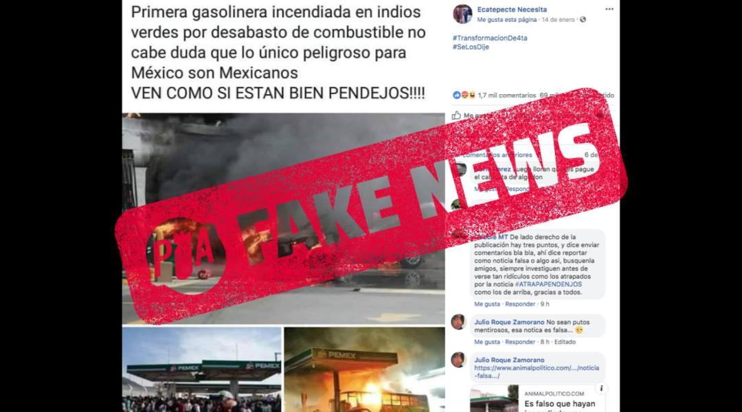 Falso: nadie incendió una gasolinera por el desabasto