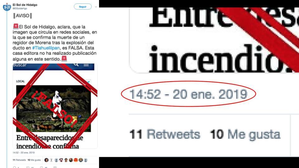 Desmentido de El Sol de Hidalgo en redes sociales