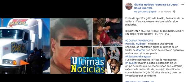 Noticia falsa con información similar en Facebook