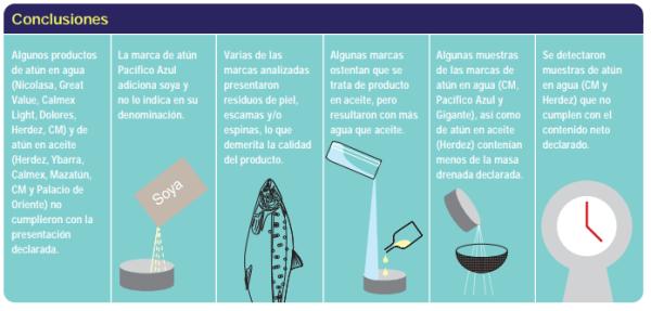 Infografía de Profeco sobre observaciones a marcas de atún en lata