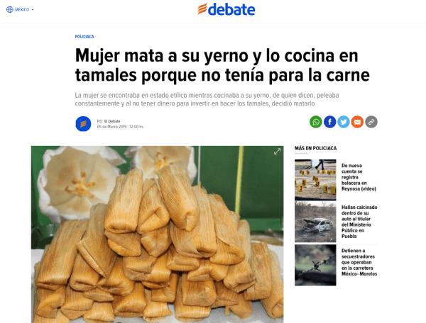 ¿Una mujer hizo 'en tamales' a su yerno en Ecatepec? Es fake