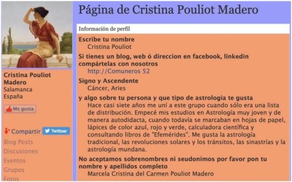 Perfil del blog Astrología Culta y Erudita, de Cristina Pouliot