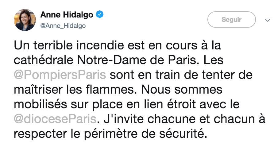 Anne Hidalgo pide a los ciudadanos mantener su distancia. Imagen:twitter.